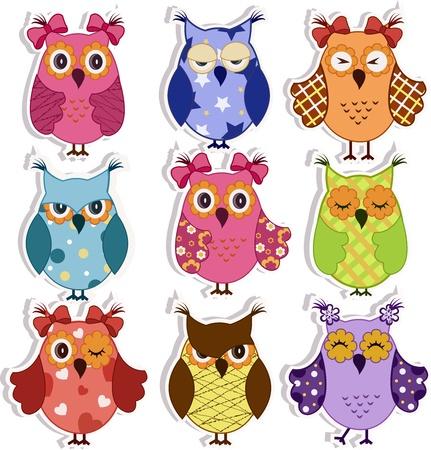 schattige dieren cartoon: Set van 9 cartoon uilen met verschillende emoties