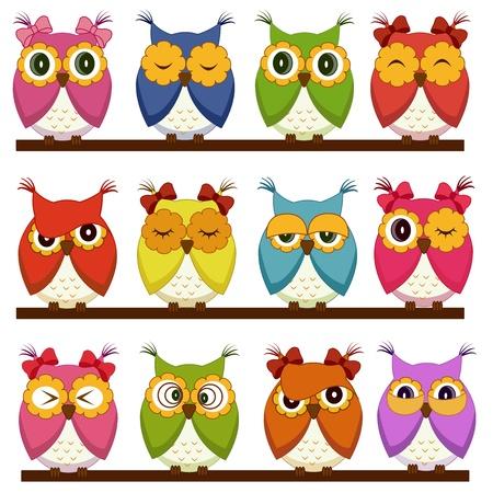 b�ho caricatura: Set de 12 b�hos con diferentes emociones