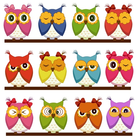 character set: Set of 12 owls with different emotions Illustration