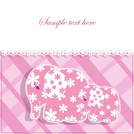 Beautiful baby pink card with elephants Stock Vector - 13514286