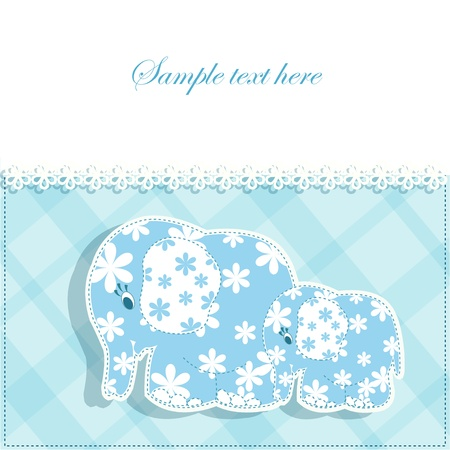 Beautiful baby blue card with elephants Vector