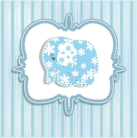 A beautiful baby card for a boy with an elephant Vector