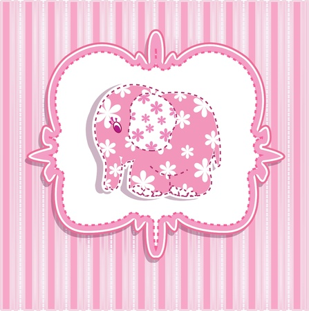 A beautiful baby girl with a card for a pink elephant on a striped background Vector