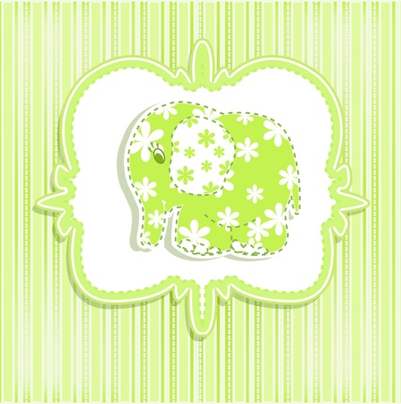 Beautiful children s card with a green elephant on a striped background Vector