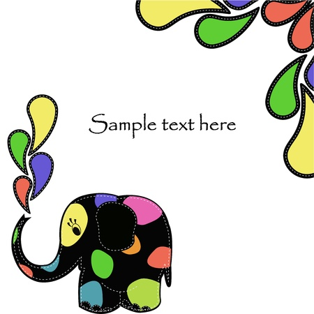 wash painting: Fun colorful elephant