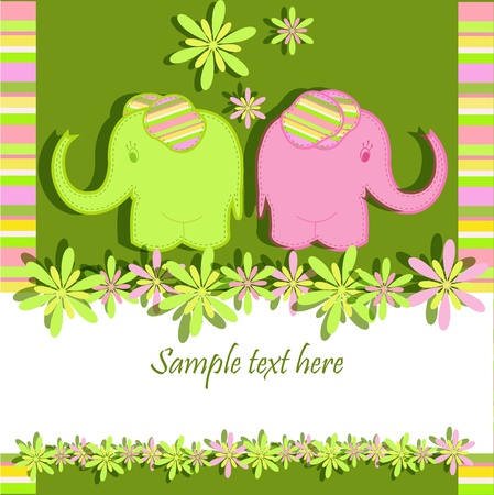 Lovers elephants on a green background with stripes and flowers