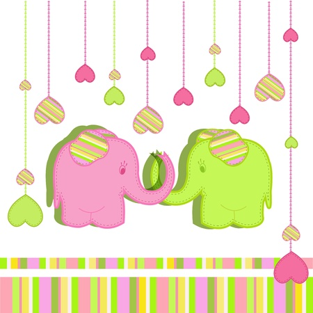 Lovers elephants on a white background with stripes and  hearts Vector