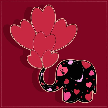 Funny elephant with hearts on a red background Vector