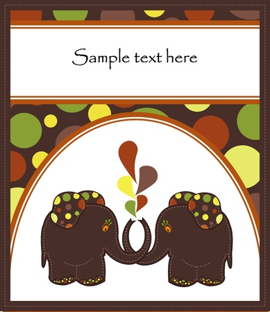 Sample Cards with two funny elephants on a brown background with circles Stock Vector - 13514316