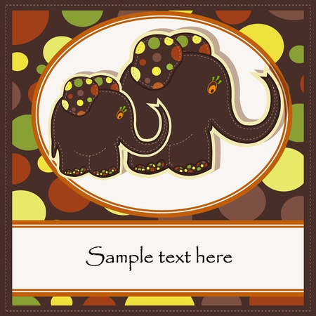 Sample Cards with two funny elephants Vector