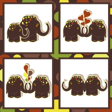 The four icons with funny elephants Vector