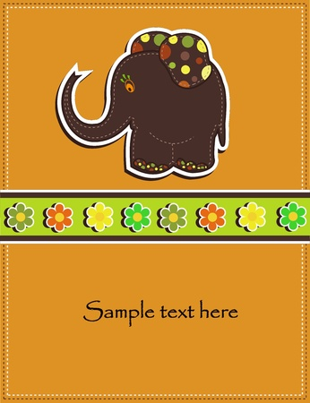 Childrens card with a brown elephant and flowers Vector