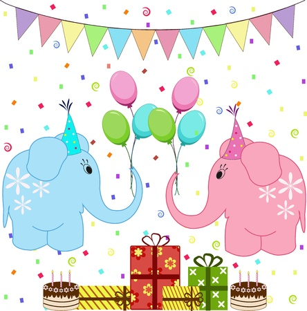 Birthday party elephants set Vector
