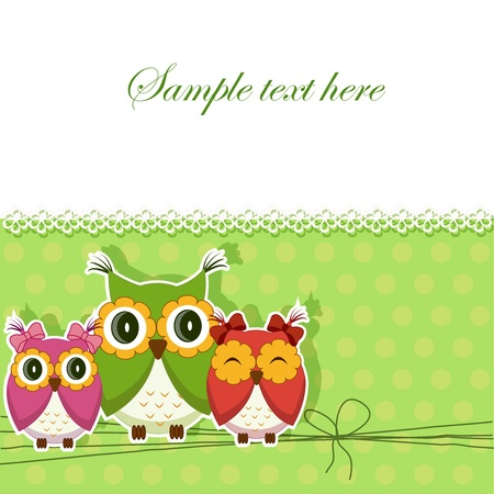 Postcard with three owls Vector
