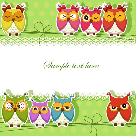 Holiday Card with colorful owls on a green background Vector