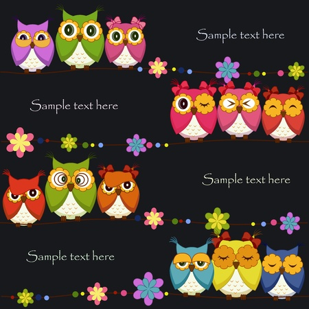 Funny Vector owl on a black background Vector