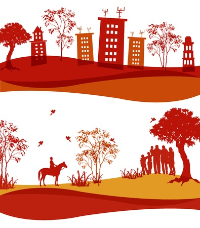 Two icons of the houses, people and nature Vector