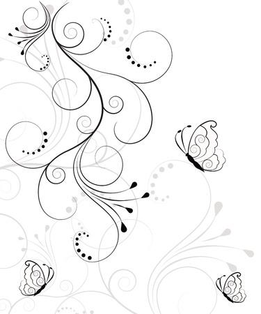 farfalla tatuaggio: Bella, astratto floreale