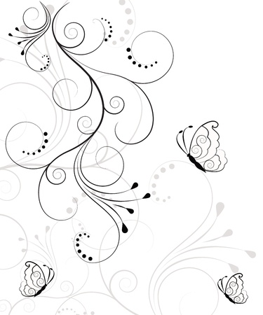 butterfly tattoo: Fondo hermoso, floral abstracta