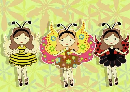 Three beautiful girls Vector