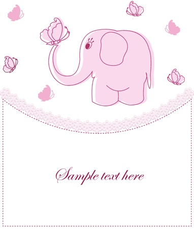 pink elephant: Beautiful childrens card for the girl
