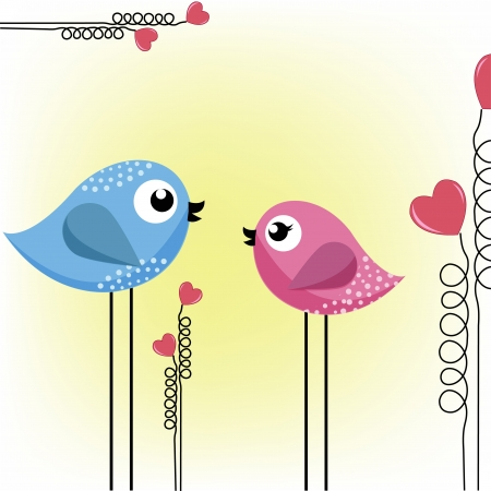 cartoon bird: Two loving birds