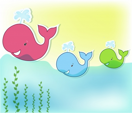 water jet: Three funny whale in the sea Illustration