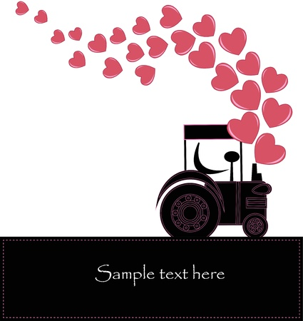 Black smoke from a tractor with hearts Vector