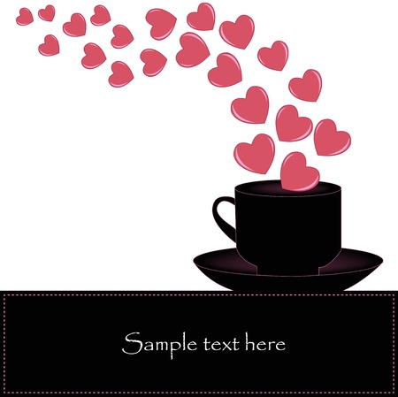 Black cup with hearts Vector