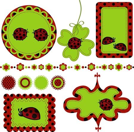 digital printing: Digital vector scrapbook with ladybug