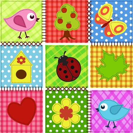 birdhouse: Patchwork with birds and birdhouses. Baby seamless background