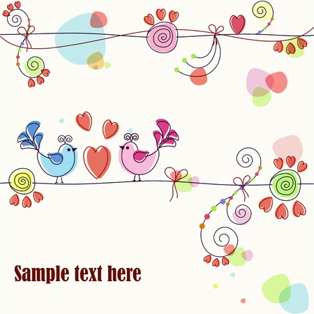 A beautiful card with birds and flowers Vector