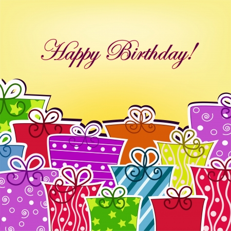 design objects: Colorful postcard with birthday
