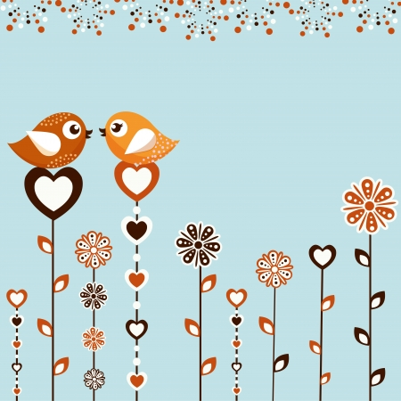 valentine s day background: Birds with flowers