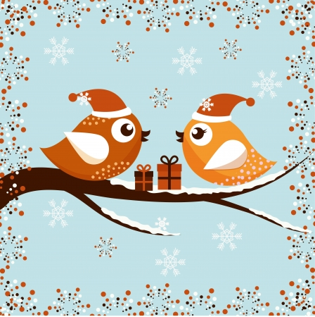 A beautiful Christmas card with the birds Stock Vector - 14644292