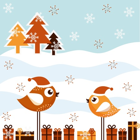 A beautiful Christmas card with the birds Vector