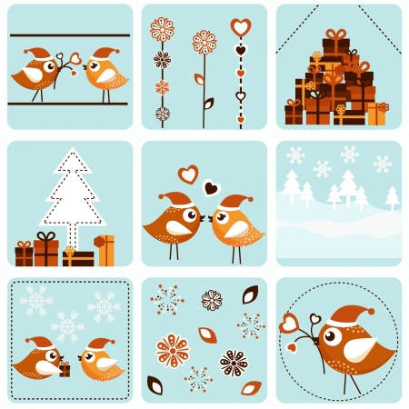 Christmas icons with birds Vector