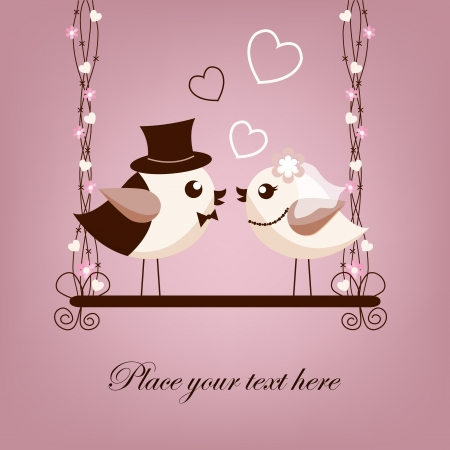 Two birds, bride and groom on the swings Vector