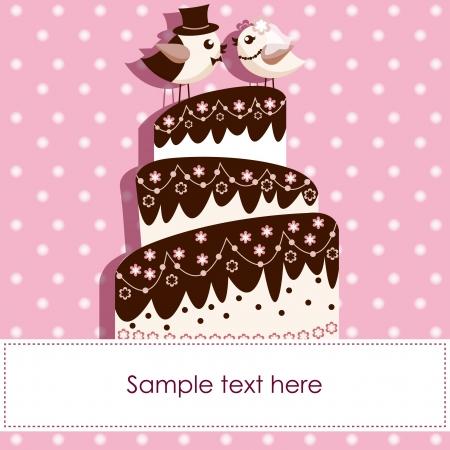 boda pastel: Tarjeta de boda con los p�jaros