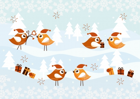Christmas icons with birds Stock Vector - 14781320