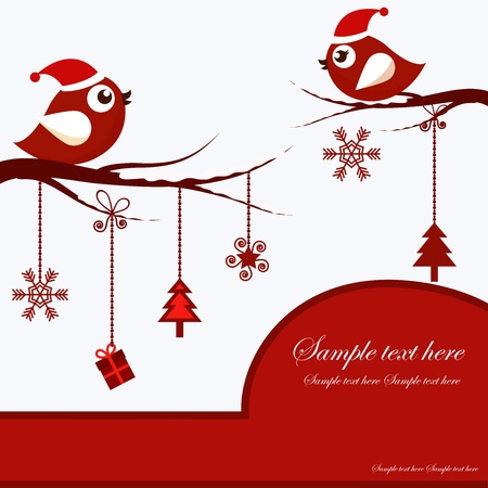 red sphere: Christmas Card with Birds Illustration