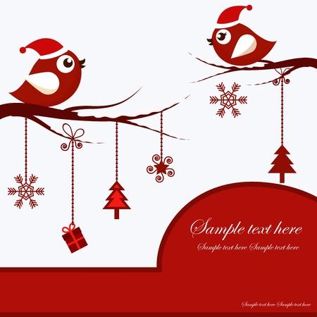 christmas bird: Christmas Card with Birds Illustration