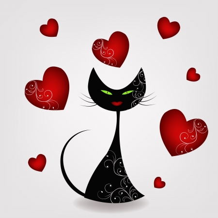 valentine cat: Black cat with hearts
