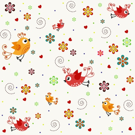 cartoon spring: sample textures with flowers and birds