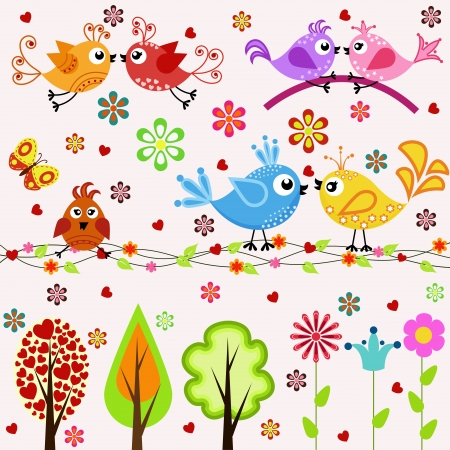 Set. Birds, trees and flowers Vector