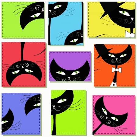 Nine icons with cats Vector
