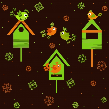 birdhouse: Birds with birdhouses on a brown background with flowers Illustration