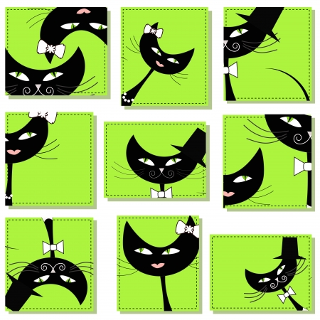 Nine icons with cats Stock Vector - 14781330
