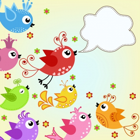 aves caricatura: , p�jaros volando colores
