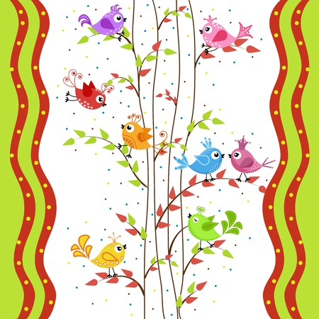 The colorful birds in a situation Vector